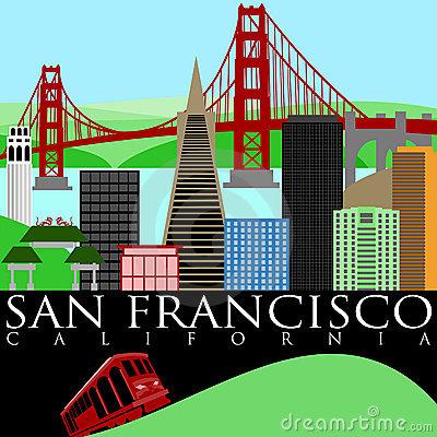 San Francisco California Skyline With Go-San Francisco California Skyline With Golden Gate Bridge By The Bay-9