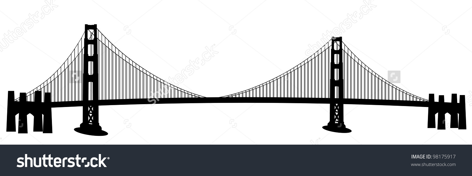 San Francisco Golden Gate Bridge Black and White Clip Art