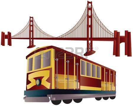 san francisco: San Francisco Cable Car T-san francisco: San Francisco Cable Car Trolley and Golden Gate Bridge Illustration Illustration-9