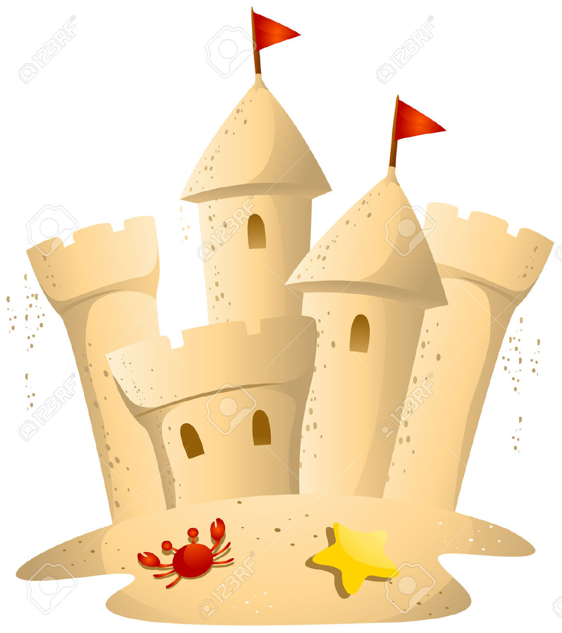 Sandcastle Clipart Black And