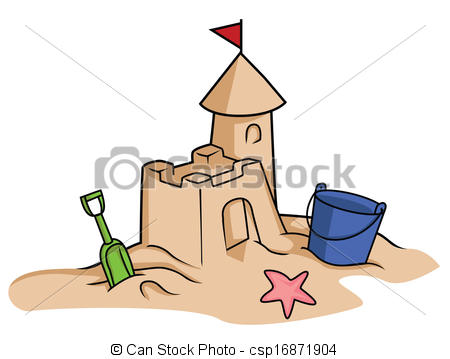 Beach Scene With A Sandcastle