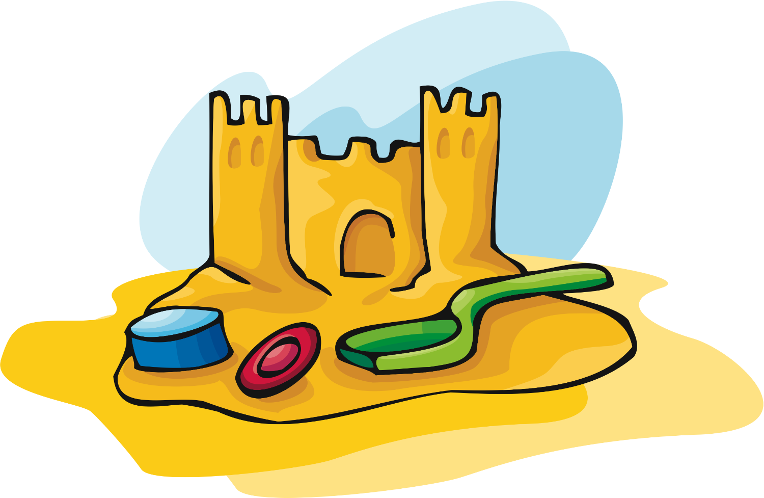 Sandcastle Clipart Black And  - Sandcastle Clipart