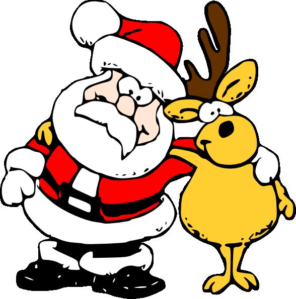 Santa And Reindeer Clip Art At Clker Com Vector Clip Art Online