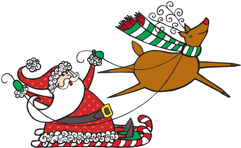 Santa And Reindeer Images