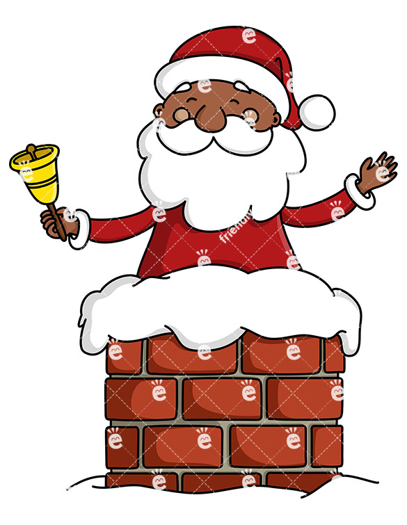 Black Santa Claus In A Chimney Ringing A Christmas Bell