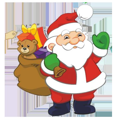 Santa Claus Clipart In Chimney At Night,-Santa Claus clipart in chimney at night, Funny Santa with sack with presents-10
