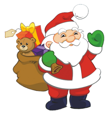 Santa Claus clipart in chimney at night, Funny Santa with sack with presents