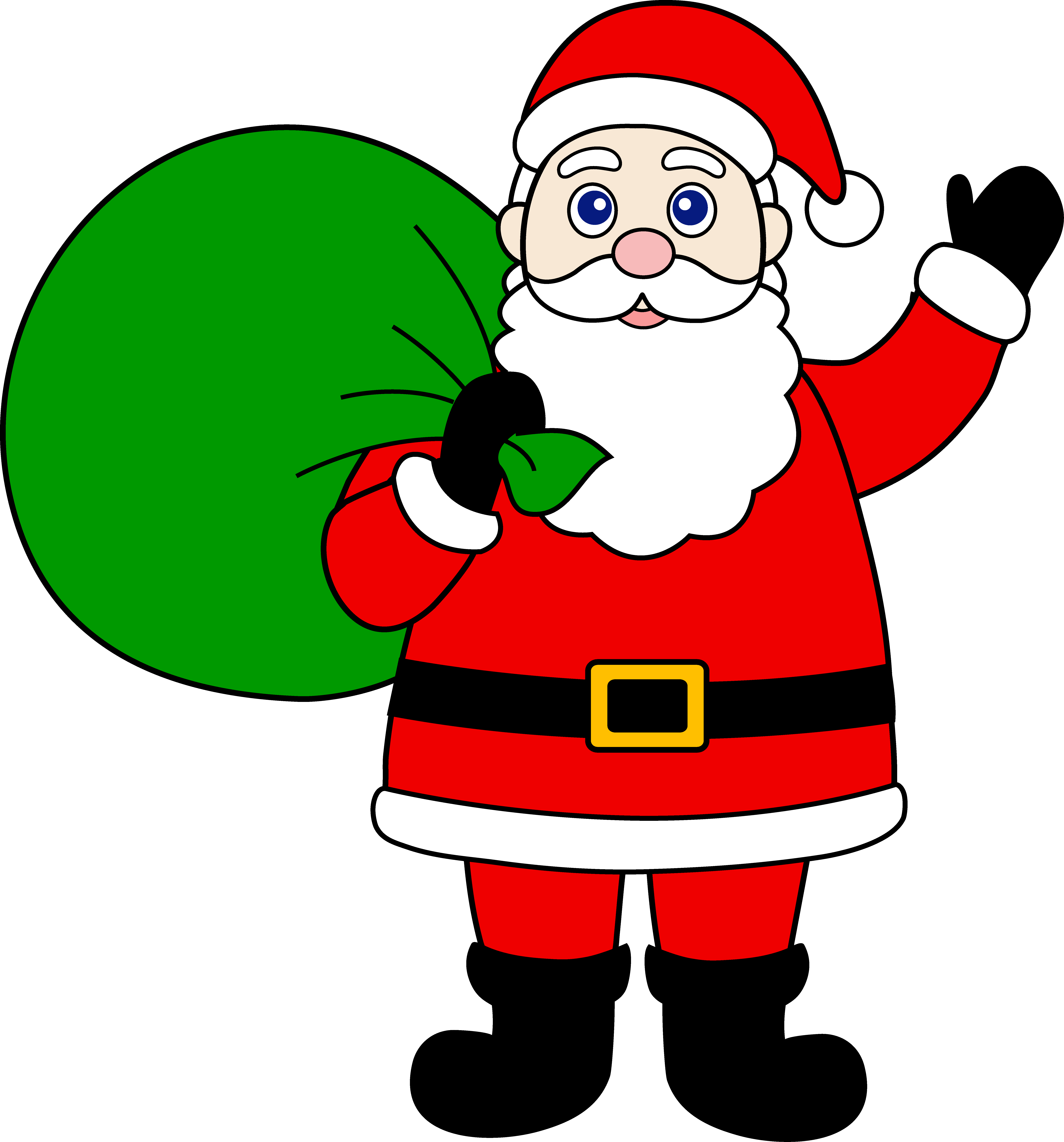 Santa Claus With Sack of Gifts - Free Clip Art