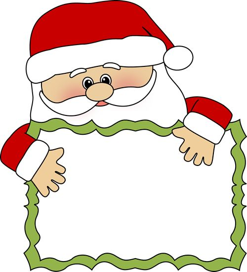 santa clip art | Santa Sign Clip Art - santa peeking over a blank sign.