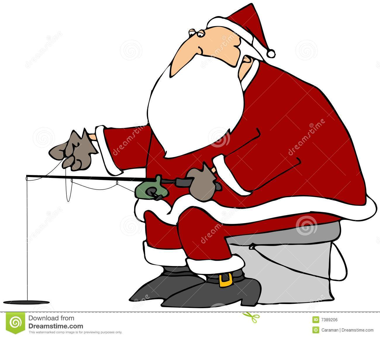 Santa Ice Fishing Royalty Free Stock Image