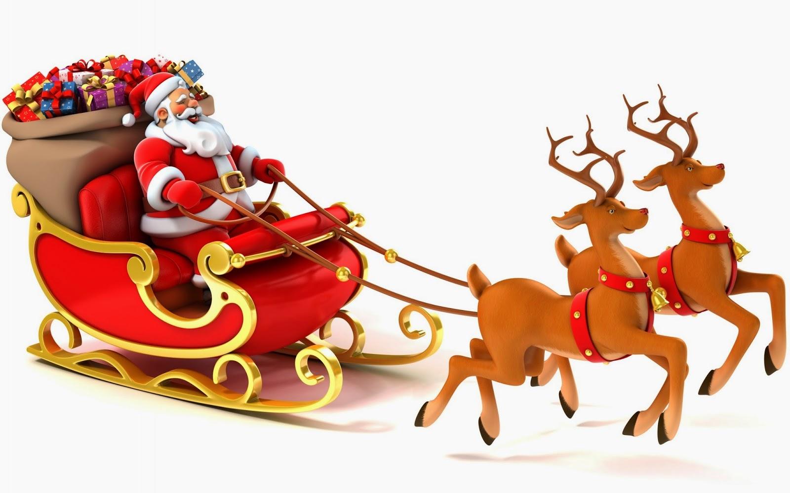 Santa Sleigh And Reindeer .
