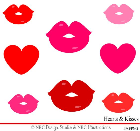 SAVE 30 Hearts u0026amp; Kisses Clipart Valentineu0026#39;s Day by NRCDesignStudio, ...