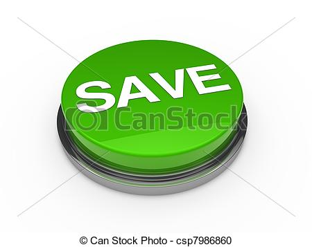 Green save button white background - csp7986860