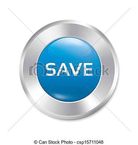 Save button. Save red round sticker. Isolated. - csp15711048