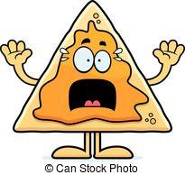 ... Scared Cartoon Nachos - A Cartoon Il-... Scared Cartoon Nachos - A cartoon illustration of a nacho.-18