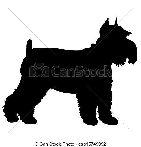 ... Schnauzer Silhouette - A Black Silho-... Schnauzer Silhouette - A black silhouette of a Schnauzer.-16