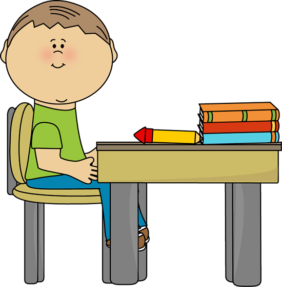 School Boy at School Desk - School Desk Clipart