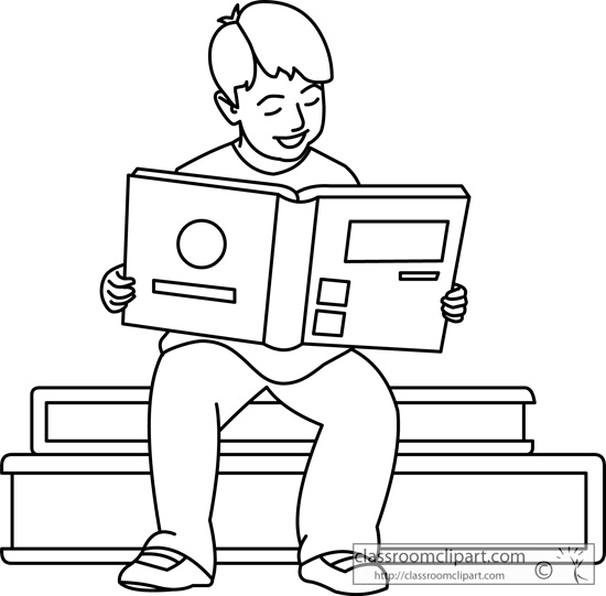 School Boy Reading Book Outline 0221 Classroom Clipart
