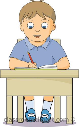 School Boy Working At Desk Classroom Cli-School Boy Working At Desk Classroom Clipart-6