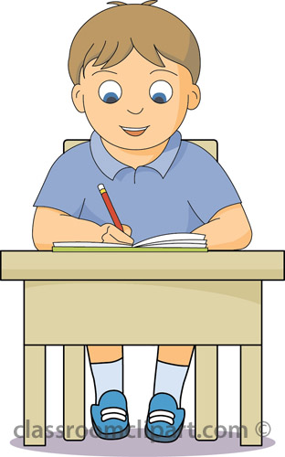 School Boy Working At Desk Classroom Clipart