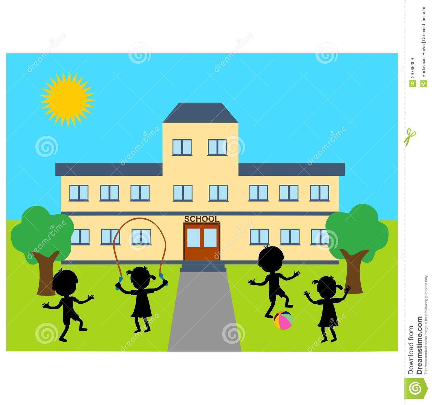School Building Clipart Illustration Sch-School Building Clipart Illustration School Building Children Playing-15