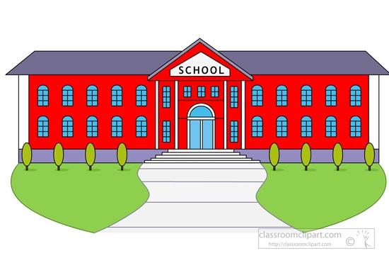 school building with bus