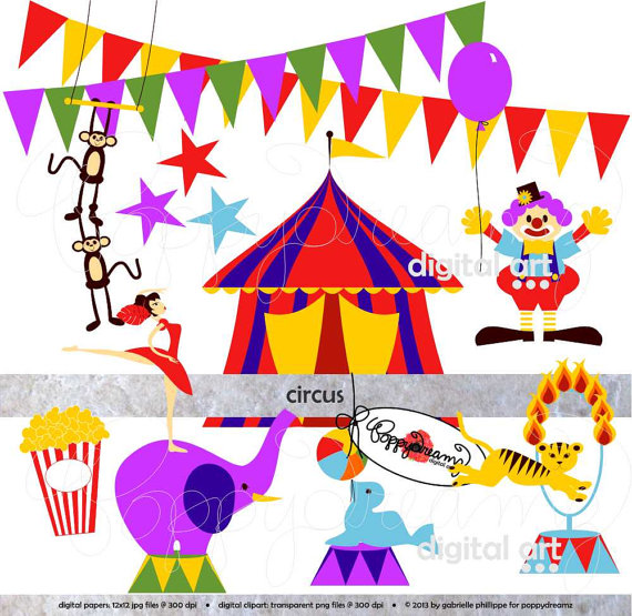 School Carnival Clipart Circus Clip Art Pack 300
