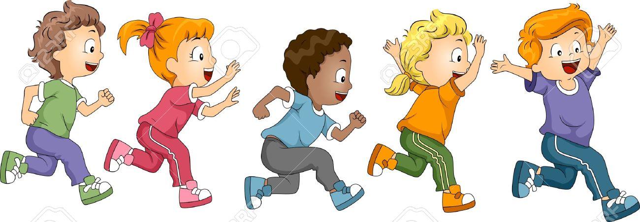 school children running: .