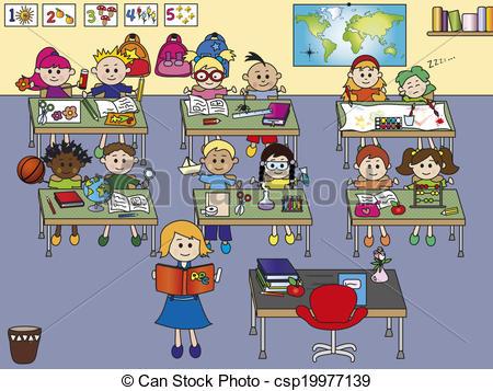 school classroom with .