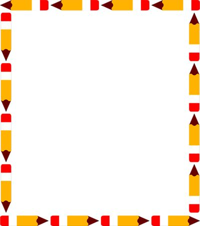 School Clip Art Borders | ... Of A Blank Pencil Frame Border | #