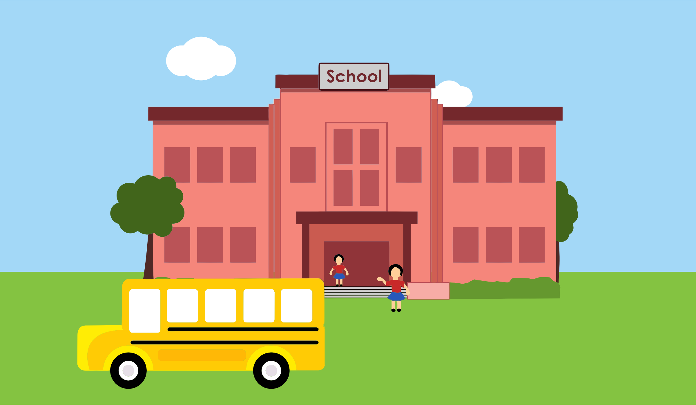 Kids Go to School | Clipart