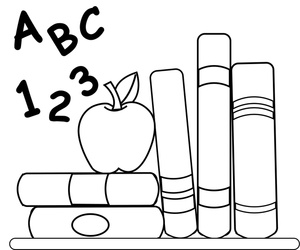 School Clipart Image Coloring Page Of Schoolbooks An Apple For