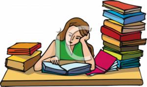 School Clipart Of A School Girl Studying-School Clipart Of A School Girl Studying Hard-7