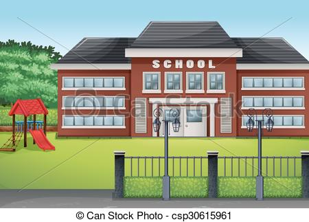 School building and green lawn - csp30615961