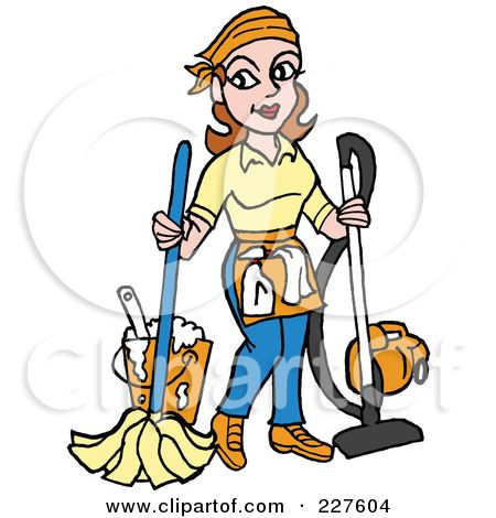School Janitor Clip Art | Royalty-Free (RF) Clipart Illustration of a Housekeeper