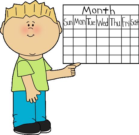 School Kid Calendar Classroom Job Clip Art