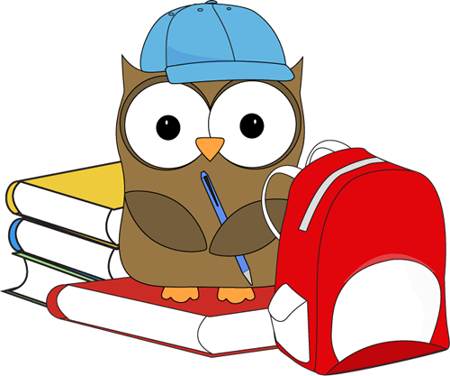 School Owl Clip Art Image - cute school owl wearing a baseball cap, holding a pencil, and sitting on books next to a backpack.