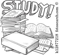 School study sketch - Study Clip Art