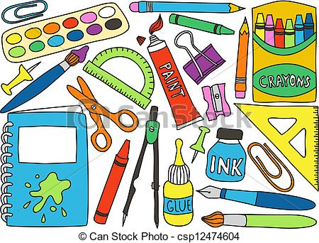 ... School Supplies Drawings - Illustrat-... School supplies drawings - Illustration of school or office.-16