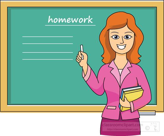 School Teacher In Classroom At Chalkboard Classroom Clipart
