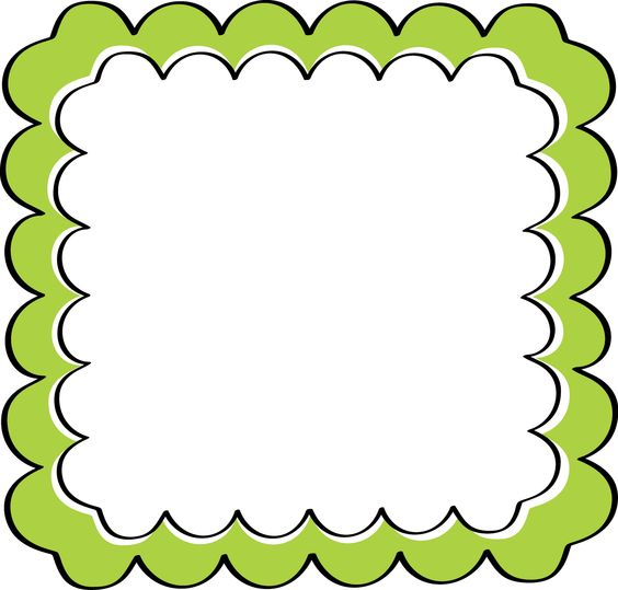 school theme border clipart | Green Scalloped Frame - Free Clip Art Frames