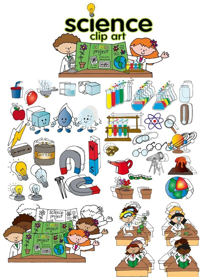 Science clip art set Download a FREE microscope in the preview!