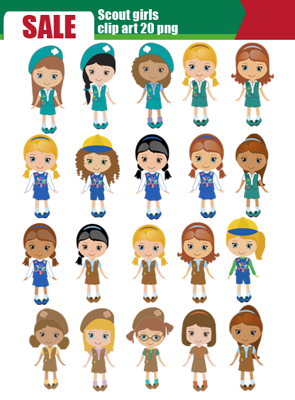 Scrapworld2010 Com Product Scout Girl Daisy Scout Clip Art Set 20 Png
