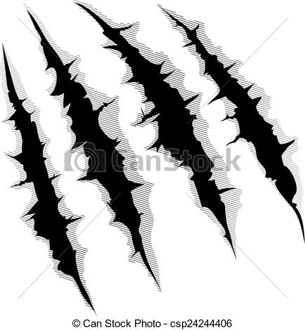 Claws scratches on white background - csp24244406