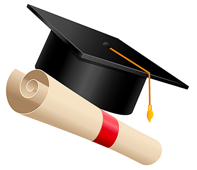 Screenshot of graduation clip art of a cap and diploma