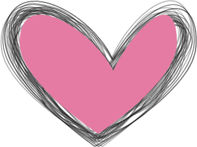Scribbled Black and Pink Heart