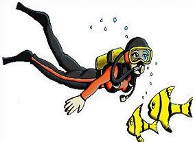 scuba diver and fish - Scuba Diver Clipart