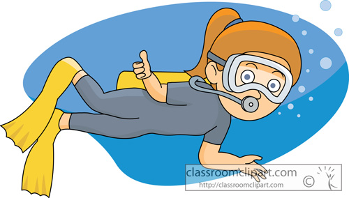 Scuba Diving Clipart Girl .