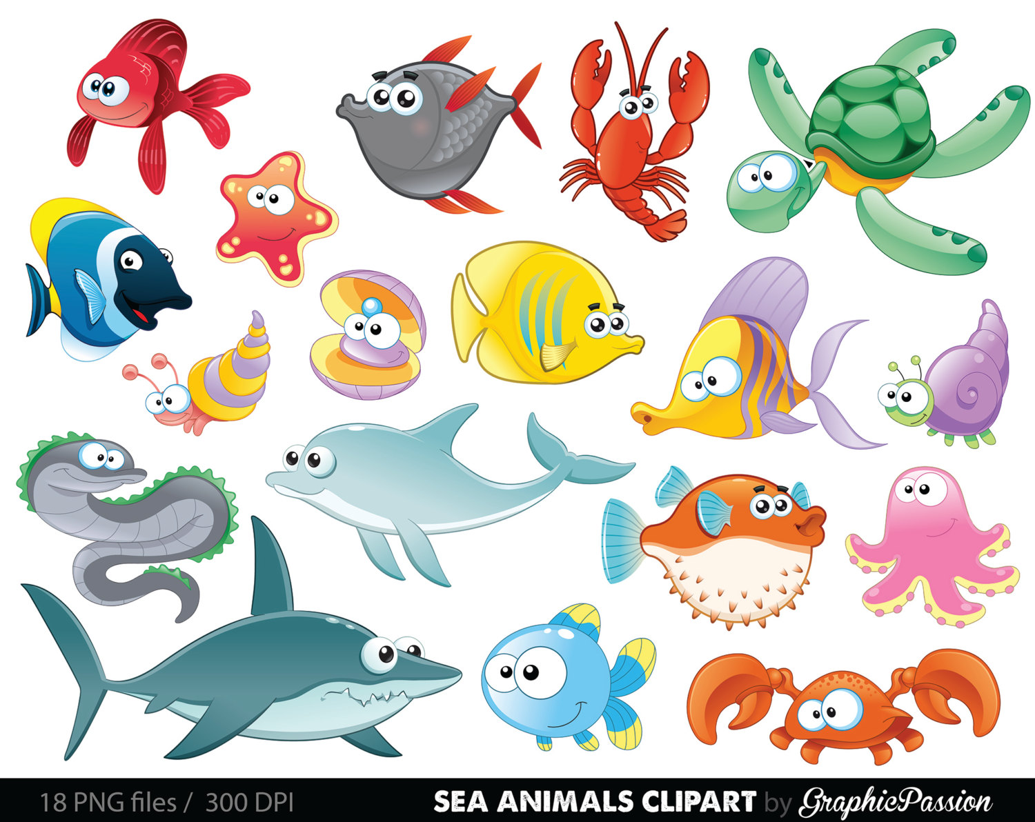 Sea Animal Clipart Under the Sea Baby Sea Creatures Clip Art Animal Clipart Ocean clipart Sea creatures graphics Sea animals vector