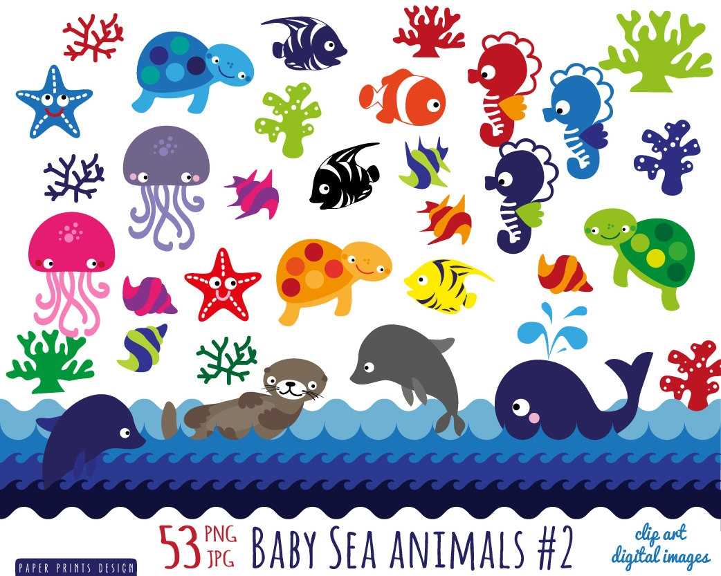 Sea animals clipart - .